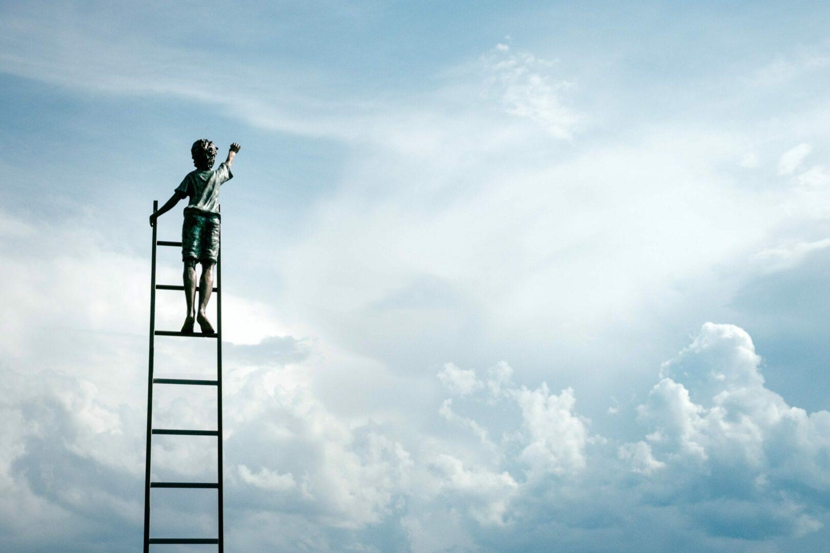 Boy climbing latter