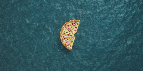 pizza raft in water
